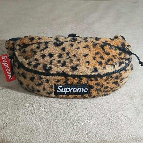 9f4e8acbb6a8 Supreme Leopard Fleece Waist Bag Yellow